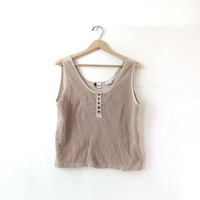 80s mesh tank top. taupe beige tan. sporty tank top