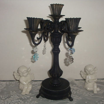 vintage shabby rustic shabby french black 5 candle stick candelabra holder display home decor centerpiece with crystals