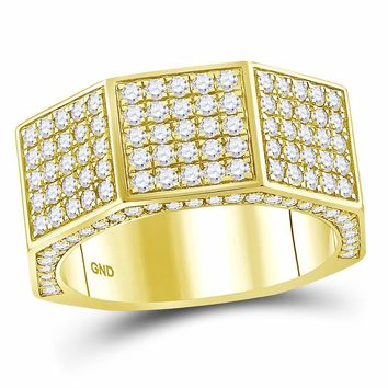 14kt Yellow Gold Mens Round Diamond Octagon Nut Faceted Band Ring 2-3/4 Cttw