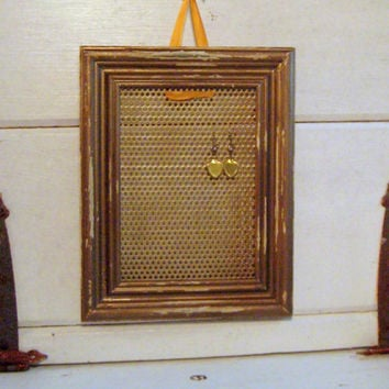 Distressed Wood Framed Earring Holder, Earring Display with a magnetic gold painted wood frame