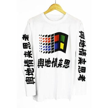 Japanese Windows Long Sleeve T Shirt Tee