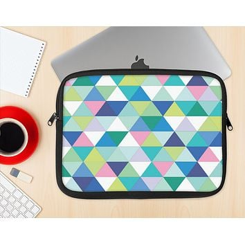 The Vibrant Fun Colored Triangular Pattern Ink-Fuzed NeoPrene MacBook Laptop Sleeve
