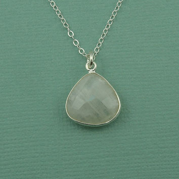 Tear Drop Moonstone Necklace - sterling silver moonstone pendant - moonstone jewelry