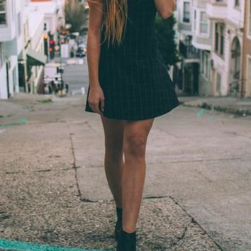 Black Plaid Draped Spaghetti Straps Vintage A-line Cute Mini Dress