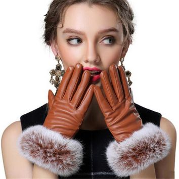 Women Warm Fur Gloves