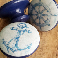Handmade Nautical Knobs Drawer Pull Set,  3 Blue Vintage Style Knobs, Under the Sea Dresser Knob Pulls, Sailing, Anchor, Made To Order