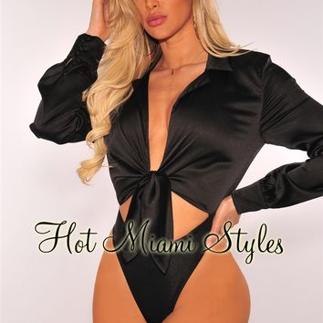 Black Satin Collared Tie Up Bodysuit