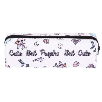 Cute But Psycho But Cute White Travel Cosmetic Makeup Bag