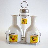Vintage French Ceramic Cruet Set