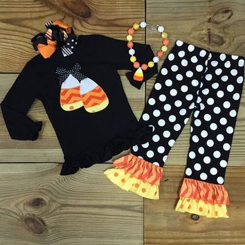 Black Polka Dot Candy Corn Outfit
