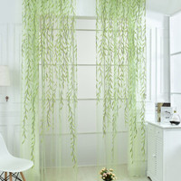 Willow Leaves Sheer Mesh Curtain 1pc