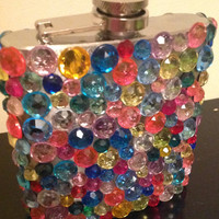 Rhinestone Multi-Color Flask