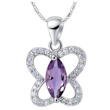 18K White Gold Plated  Cubic Zirconia Butterfly Pendant Necklace [7279353607]