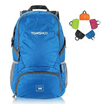 LONMF TOMSHOO 30L Climbing Bags Unisex Foldable Sports Bag Lightweight Waterproof Nylon Outdoor Backpack Travel Trekking Cycling Bag