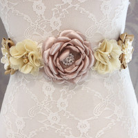 Fashion flower Belt,Girl Woman Sash Belt Wedding Sashes belt  with flower headband 1 SET