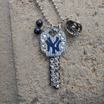 Baseball Fan Key Necklace with Swarovski Crystals and silver plated baseball glove.
