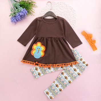 Thanksgiving Toddler Kid Baby Girl Outfits Clothes Dresses long sleeve Top+Pant Headband Set cotton costume casual children wear