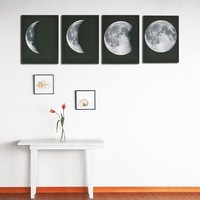 The Moon Phases - Print on Canvas Wall Decor Poster Pictures Abstract 4 panel