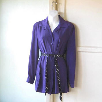 Long Sleeve Vintage Purple Tunic-Length Shirt by Patchington; Women's Medium Button Up Purple Top; U.S. Shipping Included