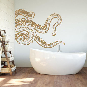 NEW Octopus Tentacle Wall Decal- Kraken Wall Decal Octopus Vinyl Sticker- Octopus Vinyl Decal Sea Wall Decor Bedroom Bathroom Nursery #241