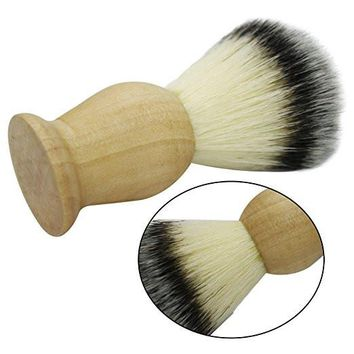 Natural Wooden Handle Synthetic Nylon Bristles Mustache Beards Brush Soft Boar Bristles Facial Care Hair Wet Shaving Brush for Men