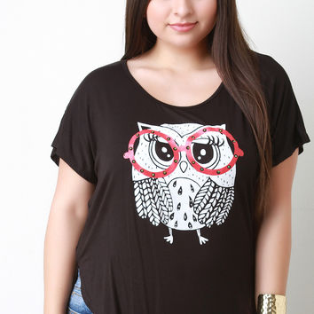 Owl Graphic Print High Low Top