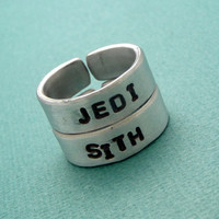 Star Wars Inspired - JEDI & SITH - A Pair of Hand Stamped Aluminum Rings