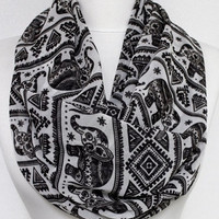 Elephant Pattern Chiffon Infinity scarf, Circle scarf, Long Scarf, spring - fall - winter - summer fashion