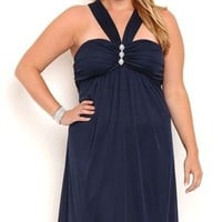 Plus Size Short Halter Front Homecoming Dress with Carefree Skirt