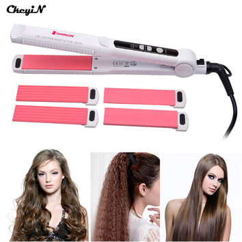 CkeyiN Multifunction 3 In 1 Ceramic Hair Straightener Curler Iron Corn Plate Curl Straightening Curling Irons Clip Styling Tool