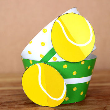 Printable 3D Tennis Ball Sports Party Cupcake Wrapper Set with a green & white tennis ball pattern INSTANT DOWNLOAD