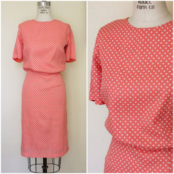 Vintage 1950s Peach Polkadot Dress / Puritan Forever Young / 50s Polka Dot Dress / Large Size Dress / Peach and White