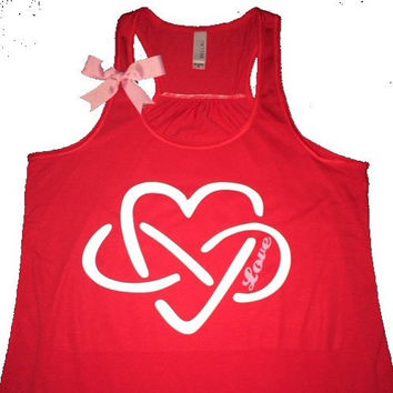 Heart Infinity Love Tank - Ruffles with Love - Racerback Tank - Womens Fitness - Workout Clothing - Workout Shirts with Sayings