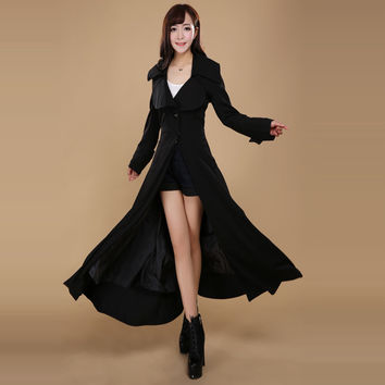 New Spring Female Europ Women Plus Long High-end Brand Wndbreaker Coat Ladies Extra Long Jacket Girls X Long Clothing