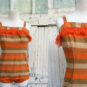 1950s Jantzen Swimsuit / Orange Striped One Piece / 50s Bathing Suit / Needs Restoration
