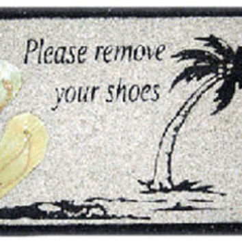 "Sand Signs ""Please Remove Your Shoes"""