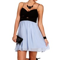 Elly-black/lt.blue Short Prom Dress