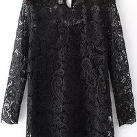 Black Paisley Lace Long Sleeve Two Pieces Blouse