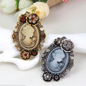 Pin Crystal Female Gold Silver Brooch Pins Vintage Queen Cameo Brooches Rhinestone Cameo Brooch Antique