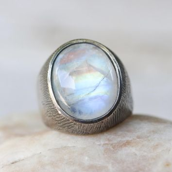Moonstone signet style ring in sterling silver textured and oxidized band