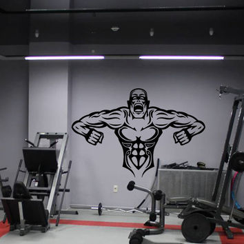 Wall Decor Vinyl Sticker Room Decal Monster Man People Gym Bodybuilding Angry Power Force Fury Rage Muscle (s224)
