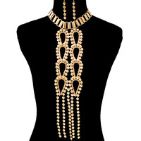 BIG GOLD EGYPTIAN TASSEL CIRCLE SQUARE CHOKER Statement Necklace & Earrings