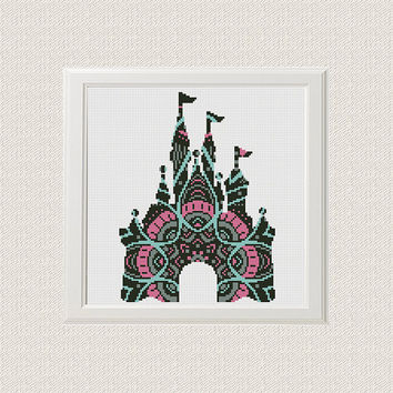Disney castle Cross Stitch Pattern, Mandala castle Silhouette Disney Counted Cross Stitch Chart Modern Decor, Download PDF