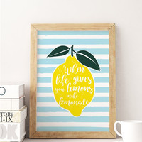 Lemonade Poster, Funny Print, Typography Print, Kitchen Wall Decor, Home Decor, Quote Art, Kitchen Decor, Kids Room Print, Lemon Print