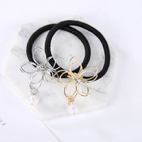 Women Girl Flower Pearl Rhinestone Crystal Elastic Ponytail Holder Hair Tie Band