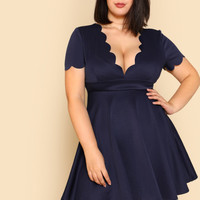 Plus Scalloped V Neck Skater Dress