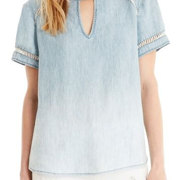Michael Stars Embroidered Inset Chambray Top | Nordstrom