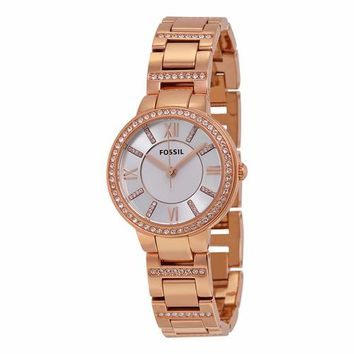 Fossil Womens ES3284 Rose Gold Silver Dial Watch