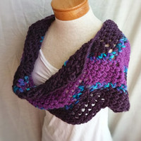 crochet cowl scarf chunky bulky wool loop shoulderette wrap purples pinks teal