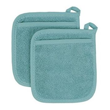 Ritz Royale Collection 100% Cotton Terry Cloth Pot Holder Oven Mitt Set, 2-Piece, Dew